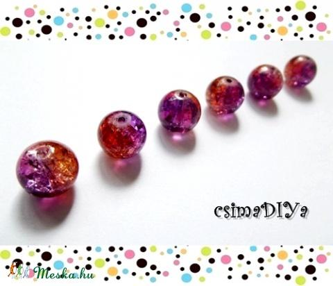 """""""Purple-orange"""" üveggyöngyök (6 db), Gyöngy, ékszerkellék, Üveg, Üveggyöngy, Izgalmas színvilág: Narancssárga és mély lila találkozik ebben a roppantott belsejű üveggyö..., Alkotók boltja"""