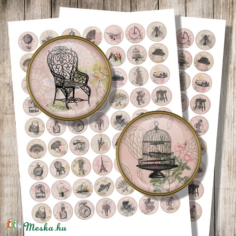 Vintage illusztrációk romantikus háttéren - digitális képek ékszerkészítéshez , Gyöngy, ékszerkellék, Üveglencse, Alkotók boltja