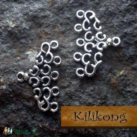 Tibeti ezüst hatású 5 soros karkötő-, láncvég, fülbevaló alap, köztes, Gyöngy, ékszerkellék, Fém köztesek, Antik ezüst színű 5 soros köztes. Használható még karkötő-, láncvégnek vagy fülbevaló a..., Alkotók boltja