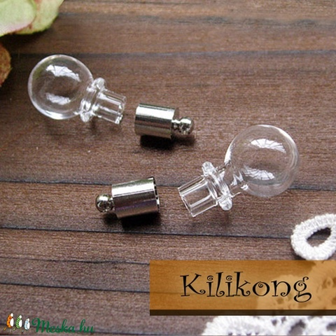 Gömbőc  üvegpalack medál, charm 1db, Gyöngy, ékszerkellék, Üveg, Egyéb alkatrész, Apró, gömbőc üvegpalack, charm. Feltöltheted apró gyönggyel, folyadékkal.  Készíthetsz bel..., Alkotók boltja