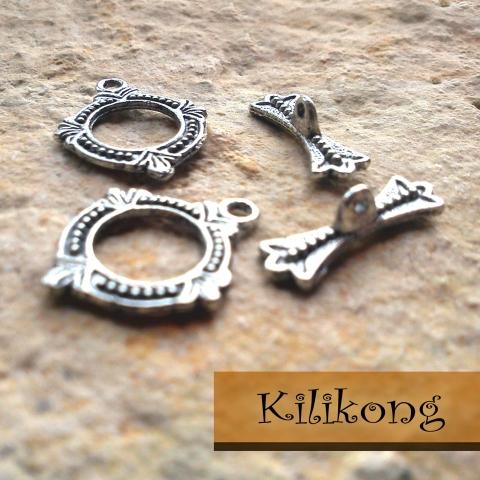 Antik ezüst T-kapocs (3 típus)  2 szett/csomag, Gyöngy, ékszerkellék, Egyéb alkatrész, Antik ezüst T-kapocs Karkötők, láncok különleges zárszerkezete lehet. A karika 18 x 15 mm. , ..., Alkotók boltja