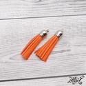 Velúr hatású bojt - narancs (2 db), Gyöngy, ékszerkellék, Textil, Ékszerkészítés, Narancssárga velúr hatású műbőr bojt, ezüst színű kupakkal.  Hosszúsága: 6 cm  Az ár 2 darabra vona..., Alkotók boltja