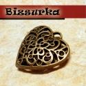 Antik bronz áttört szív II. medál, charm, Gyöngy, ékszerkellék, Látványos, antik bronz áttört szív, medál. Méret: 33 x 32 x 18 mm.  Akár egy nyakláncra akár egy bőr..., Alkotók boltja