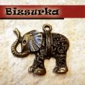 Antik bronz indiai elefánt  , Gyöngy, ékszerkellék, Egyéb alkatrész, Antik bronz indiai elefánt. Méret: 30 x 27 mm. 2- 2.2 mm-es vagy 6-7ss méretű strasszokkal díszíthet..., Alkotók boltja