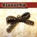 Antik bronz csipke masni, Gyöngy, ékszerkellék, Antik bronz csipke masni Mérete:22 x 44 mm.  Akár egy nyakláncra akár egy bőrszálra fűzve máris szép..., Alkotók boltja