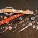 Noosa fémkarkötő, strasszos medállal, nikkel ezüst színű, 2 .tipus, Gyöngy, ékszerkellék, Cabochon, Alkotók boltja
