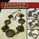 Antik bronz virágos karkötő + üveglencse / 4 típus választható, Gyöngy, ékszerkellék, Fém köztesek, Antik bronz virágos karkötő.  Karkötő hossza: 20 cm Üveglencse mérete: 14 mm  Választható köztes: - ..., Alkotók boltja