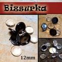 4db  bedugós fülbevaló alap + 4db üveglencse (12mm) / 3 színben, Gyöngy, ékszerkellék, Üveglencse, 4db   bedugós fülbevaló alap üveglencsével  Választható színek: - Fekete (gunmetal) - antik bronz - ..., Alkotók boltja