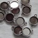 Fémfoglalat összekötő - fém színű - kisebb, Díszíthető tárgyak, Gyöngy, ékszerkellék, Ékszerkészítés, Fém köztesek, Szerelékek, Fém színű fém foglalat összekötő 12 mm Az ár 20 db - ra vonatkozik!, Alkotók boltja