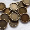 Fémfoglalat medál - bronz színű , Díszíthető tárgyak, Gyöngy, ékszerkellék, Ékszerkészítés, Fém köztesek, Szerelékek, Bronz színű fém foglalat medál 14 mm Az ár 20 db - ra vonatkozik!, Alkotók boltja