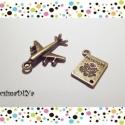 """""""BON VOYAGE"""" charm, medál szett (2db/cs), Gyöngy, ékszerkellék, Egyéb alkatrész, Antik bronz színű 2 db-os charm-szett NAGY-UTAZÁS témában. :)  A csomag tartalma:  1 db repülőgép ch..., Alkotók boltja"""
