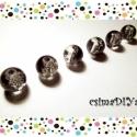 Clear-Black üveg gyöngyök (6 db), Gyöngy, ékszerkellék, Üveggyöngy, Roppantott belsejű üveggyöngy fekete és színtelen kombinációjával.  A készítés során alkalmazott tec..., Alkotók boltja