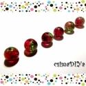 Piros-Zöld üveg gyöngyök (6 db), Gyöngy, ékszerkellék, Üveggyöngy, Megkapó, igazi karácsonyi színvilág: zöld és élénk piros találkozik ebben a roppantott belsejű üvegg..., Alkotók boltja