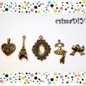 Határtalan ROMANTIKA charm-szett (üveglencsés medállal), Gyöngy, ékszerkellék, Üveg, Antik bronz színű charm-szett romantikus elemekből összeválogatva :)   Charmok anyaga: fém ötvözet S..., Alkotók boltja