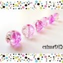 PINK-CLEAR üveggyöngyök (6 db), Gyöngy, ékszerkellék, Üveggyöngy, Üde pink és víztiszta találkozik ebben a roppantott belsejű üveggyöngyben.   A készítés során alkalm..., Alkotók boltja