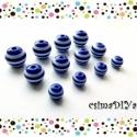Kék-fehér csíkos akril gyöngyök (10-8-6mm) 12db, Gyöngy, ékszerkellék, Műanyag gyöngy, Vidám MATRÓZ-csíkos gyöngyszemek. :D  Tengerre fel! ;)   A megadott ár a képen látható 12 db-os össz..., Alkotók boltja