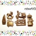 """""""Nosztalgia"""" charm-szett #3 (5db/cs), Gyöngy, ékszerkellék, Egyéb alkatrész, A """"Régi szép idők"""" tárgyaiból  összeválogatott antik bronz színű charm-szett :)  A szett tartalma:  ..., Alkotók boltja"""
