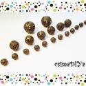 Filigrán fém gyöngy MIX (20 db) - BRONZ, Gyöngy, ékszerkellék, Fém köztesek, 20 db filigrán fém gyöngy antik bronz színben az alábbi összeállításban:  - 2db 14mm-s - 6db 10mm-s ..., Alkotók boltja