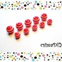 PIROS csíkos akril gyöngy MIX (6mm, 8mm) 2x5db, Gyöngy, ékszerkellék, Műanyag gyöngy, Matróz-csíkos gyöngyszemek piros-fehér színben, két méretben: 6mm és 8mm.  Tengerre fel! ;)   méretü..., Alkotók boltja