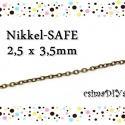 NIKKEL-SAFE antik bronz lánc 1 m (2,5 x 3,5 mm), Gyöngy, ékszerkellék, Egyéb alkatrész, A megadott ár 1 méter hosszú keresztszemű láncra vonatkozik.  Anyaga: ólom- és nikkel-safe fém ötvöz..., Alkotók boltja