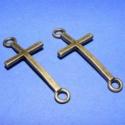 Köztes(626/B.minta /2db), Gyöngy, ékszerkellék, Egyéb alkatrész, Ékszerkészítés, Szerelékek, Fém köztesek, Bronz színű köztes kereszt(626/B.minta /2db) Mérete 39x17x2mm. Az ár 2db termékre vonatkozik., Alkotók boltja