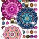 16 különböző kép! Digitális, nyomtatható kollázs ékszerkészítéshez,  színes mandala, Gyöngy, ékszerkellék, Cabochon, Ékszerkészítés, Papírművészet, Gyöngy, 16 különböző színes mandala kollázsként megszerkesztve.   Digitális kollázs ékszerkészítéshez, üveg..., Alkotók boltja