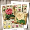 Rózsák - nyomtatható képkollázs , Papír, Vintage rózsa-illusztrációk - nyomtatható, négyzet alakú képek  Min. 5 termék rendelésekor 400 Ft / ..., Alkotók boltja
