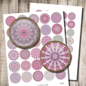 Rózsaszínű mandalák - digitális képek ékszerkészítéshez , Papír, Grafika, fotó, Rózsaszínű mandalák - nyomtatható, kör alakú képek  Min. 5 termék rendelésekor 400 Ft / kollázs !  ..., Alkotók boltja