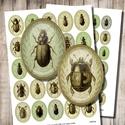 Ovális képek ékszerkészítéshez - Bogarak, Gyöngy, ékszerkellék, Papír, Bogarak zöld háttéren - vintage illusztrációk - nyomtatható ovális képek  Min. 5 termék rendelésekor..., Alkotók boltja