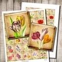 Digitális képkollázs - a kert virágai , Papír, Decoupage, szalvétatechnika, Grafika, fotó, Decoupage minták, Kerti virágok - vintage illusztrációk - nyomtatható, négyzet alakú képek  Min. 5 termék rendeléseko..., Alkotók boltja