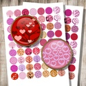 Valentin napi digitális képkollázs ékszerkészítéshez , Papír, Szívecskés fák a szerelem színeiben - nyomtatható, kör alakú képek  Min. 5 termék rendelése esetén 4..., Alkotók boltja
