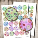 Virágmintás körök - digitális képek, Gyöngy, ékszerkellék, Papír, Virágmintás körök pasztell színekben - nyomtatható, kör alakú képek  2 + 1 Boltnyitási AKCIÓ !  2 te..., Alkotók boltja