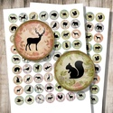 Állati sziluettek - digitális képek ékszerkészítéshez , Papír, Állatok sziluettjei vintage háttéren - nyomtatható, kör alakú képek  Min. 5 termék rendelése esetén ..., Alkotók boltja
