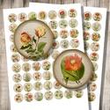 Kerti virágok - digitális képkollázs, Gyöngy, ékszerkellék, Dekorációs kellékek, Kerti virágok - vintage illusztrációk - nyomtatható, kör alakú képek  Min. 5 termék rendelése esetén..., Alkotók boltja