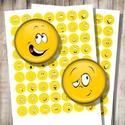 Arcok, fejecskék, hangulatjelek - digitális képek ékszerkészítéshez , Gyöngy, ékszerkellék, Üveglencse, Sárga szín? hangulatjelek - nyomtatható, kör alakú képek  Min. 5 termék rendelésekor 400 Ft / kolláz..., Alkotók boltja