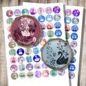 Hattyúk és virágok - digitális képkollázs, Gyöngy, ékszerkellék, Papír, Hattyúk és virágok - nyomtatható, kör alakú képek  Min. 5 termék rendelésekor 400 Ft / kollázs !  **..., Alkotók boltja