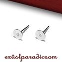 925 valódi ezüst FÜLBEVALÓ ALAP ragasztható 6mm; B272 - sterling ezüst fülbevalóalap, Gyöngy, ékszerkellék, 925-ös ezüst ragasztható fülbevaló alap 6mm vagy sterling ezüst bedugós fülbevaló  A méretek értelme..., Alkotók boltja