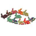 Nyuszi alakú mintás gombok - 10 db, Gomb, Fa, Varrás, Textil, Gomb, Nyuszi alakú gombok fából vegyes színekben.  Mérete: 31x28 mm Anyaga: festett fa A csomag ára 10 db..., Alkotók boltja