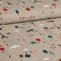Mintás lenvászon - színes Párizs, Textil, Pamut, Nyomott mintás lenvászon anyag.  Szélessége: 150cm Összetétele: 50% len, 50% pamut Súlya: kb. 210gr/..., Alkotók boltja