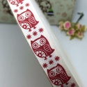 100% pamut szalag - 15mm - karácsonyi baglyok, Textil, Szalag, pánt, Kiváló minőségű 15mm-es 100% pamut szalag.  Az ár 1m szalagra vonatkozik.  Több méter vásárlása eset..., Alkotók boltja