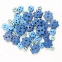 Virág formájú mini gombok - kék, Gomb, Apró, virág formájú formagombok 4 - 10mm méretekben, melyekkel igazán egyedivé teheted alkotásod!  G..., Alkotók boltja