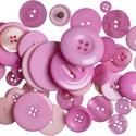 Vegyes méretű gombok - Dark Pink, Gomb, Műanyag gomb, Színben harmonizáló, különböző méretű és formájú gombokból álló csomag.   A csomag kb. 60gr gombot t..., Alkotók boltja