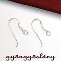 925 valódi ezüst fülbevaló akasztó - sterling ezüst #102, Gyöngy, ékszerkellék, 925-ös ezüst fülbevaló alap vagy ezüst franciaakasztó  Mérete: 21 mm * 9 mm  Amit a 925-ös sterling ..., Alkotók boltja