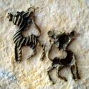 Antik bronz ZEBRA medál, charm, Gyöngy, ékszerkellék, Fém köztesek, Alkotók boltja