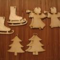 Angyalka, fenyőfa, jégkorcsolya, fa figura, Dekorációs kellékek, Díszíthető tárgyak, Mindenmás, Fából készült festhető fa figurák. 3db/cs. Mindegyikből 6-6cs. van. , Alkotók boltja