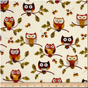 Leaf Into Autumn Owls Cream, Textil, Pamut, Varrás, Textil, Amerika designer textil Leaf Into Autumn Owls Cream Baglyos motívummal  100% pamutvászon  Ideális p..., Alkotók boltja