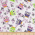 Tossed Owls White Purple Lime, Textil, Pamut, Varrás, Textil, Amerika designer textil Tossed Owls White Purple Lime Baglyos motívummal  100% pamutvászon  Ideális..., Alkotók boltja