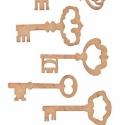 MDF kulcsok, 5 részes - szett, Dekorációs kellékek, Díszíthető tárgyak, Decoupage, szalvétatechnika, Festett tárgyak, festészet, Mindenmás, Méretek: kb.7 x 3 - 5 cm , Alkotók boltja