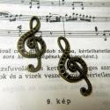 Violinkulcs medál 1 db, Gyöngy, ékszerkellék, Fém köztesek, Alkotók boltja