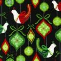 Robert Kaufman: O'tinsel tree -30x55 - madaras zöld piros, Textil, Pamut, Varrás, Textil, amerikai designer textil:  Robert Kaufman - O'tinsel tree  A nagyobb madár kb. 6 cm magas, a kisebb..., Alkotók boltja